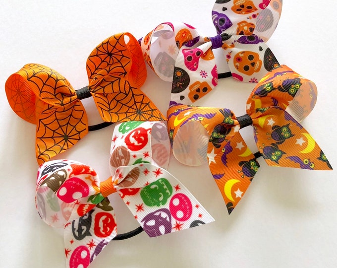 Featured listing image: Halloween Grosgrain Ponytail Bows