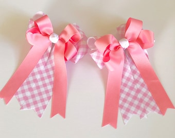 Pair of Equestrian Ponytail Bows in Pink Gingham Grosgrain