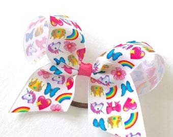 Emoji Grosgrain Ponytail Bows