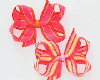 Large Grosgrain Hair Bows in Pink and Orange Stripes- Orange Guava or Heatwave