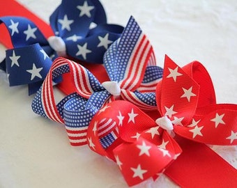 Patriotic 3 Pack- Large Grosgrain Hair Bows