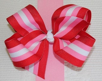 Extra Large Valentine Stripe Grosgrain Hair Bow
