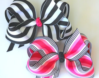Extra Large Grosgrain Stripe Hair Bows- Licorice Twist and Eloise Stripe