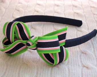 Headband with Bow in Bahama Breeze Stripe and Navy Band