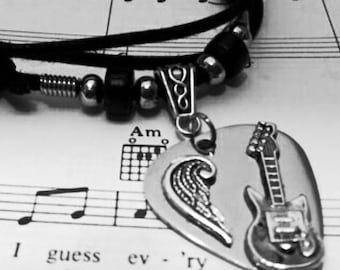 Guitar Pick Necklace - Stainless Steel - Guitar Pick Jewelry - Angel Wing Necklace - Christian Jewelry - Adjustable