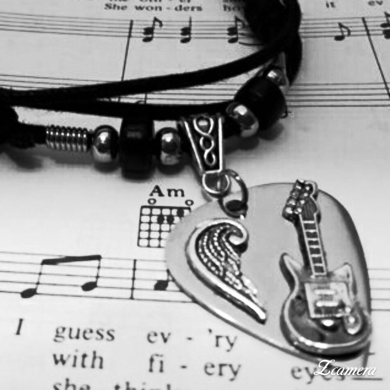 Guitar Pick Necklace  Stainless Steel  Guitar Pick Jewelry  image 0