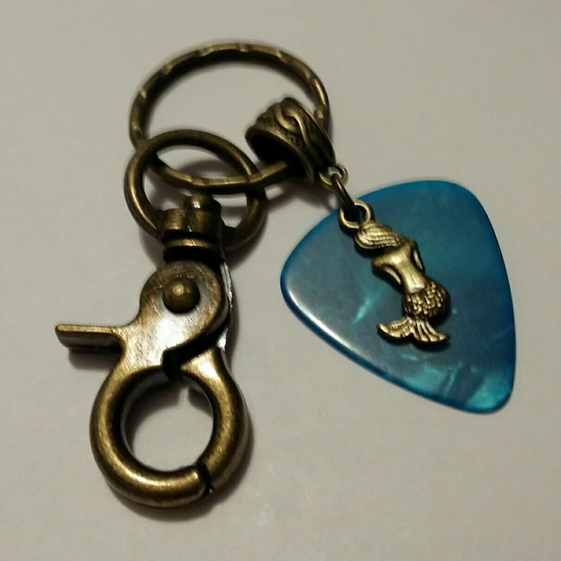 Guitar Pick Key Chain  Guitar Pick Jewelry  Turquoise  image 0