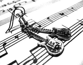 Guitar Earrings - Silver