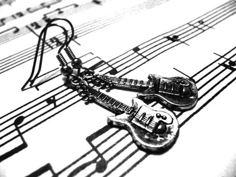 Guitar Earrings  Silver image 0