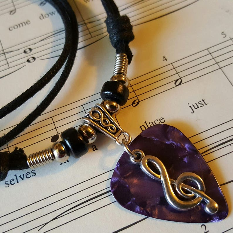 Guitar Pick Necklace  Treble Clef Necklace  Music  Unisex  image 0