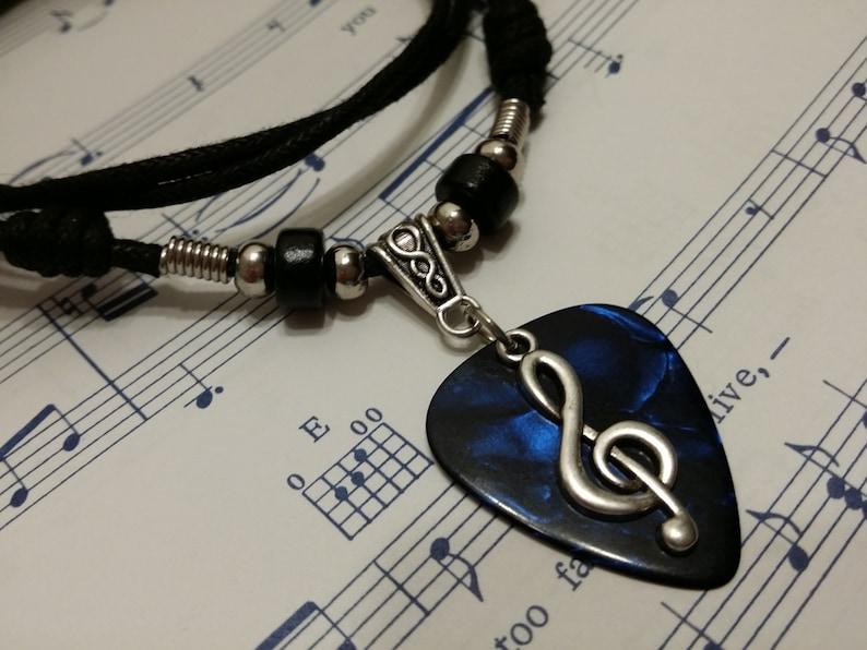 Guitar Pick Necklace  Treble clef Necklace  Blue Pick image 0