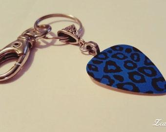 Guitar Pick KeyChain - Guitar Pick Jewelry - Blue Key Chain - Leopard Key chain - Animal Print Jewelry - Pick Key Chain - Leopard Print
