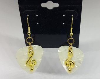 Guitar Pick Earrings - Gold Tone - Music Note Earrings - Treble Clef  - 1 pair