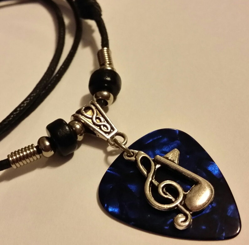 Guitar Pick Necklace  Blue Pick Necklace   Guitar Pick image 0