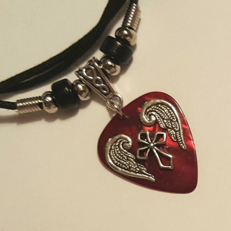 Guitar Pick Necklace  Red Guitar Pick  Cross Necklace  image 0