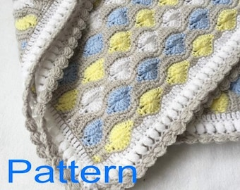 Crochet Baby Boy Blanket PDF Pattern Bubbles Afghan Original Design