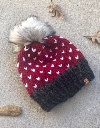 Knitted Hat Christmas Red White and Black Silver Fox Faux Fur Pom Pom The Little Hearts