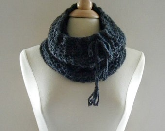 Crochet Cowl Scarf Neckwarmer Women Over the Ridge with Drawstring in Charcoal Gray Black