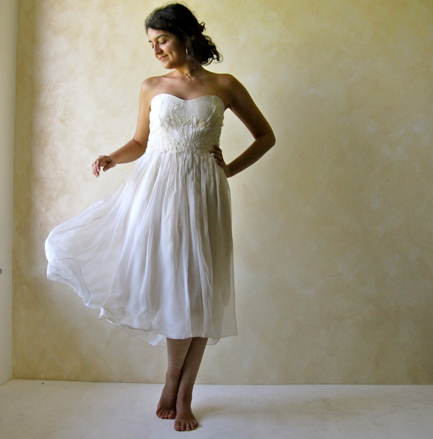 Short Wedding Dress Tea length wedding dress Hippie Boho ...