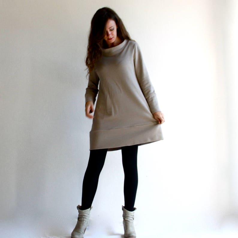 outlet store bde9e 991da Mini abito in felpa di cotone, vestito corto, felpa lunga, abito comodo,  abito casual, top lungo, maglia lunga, abbigliamento autunno