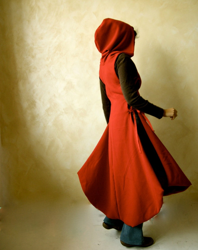 649a7b458a4 Red Hooded Cape Red coat wool dress Medieval Tunic Winter