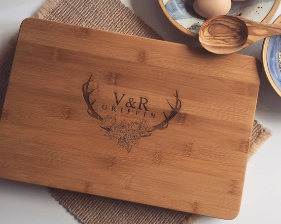 Floral Antlers Custom Butcher Block / Wood Chopping Board Personalized with Your Text for a perfect Housewarming Gift or Wedding Present
