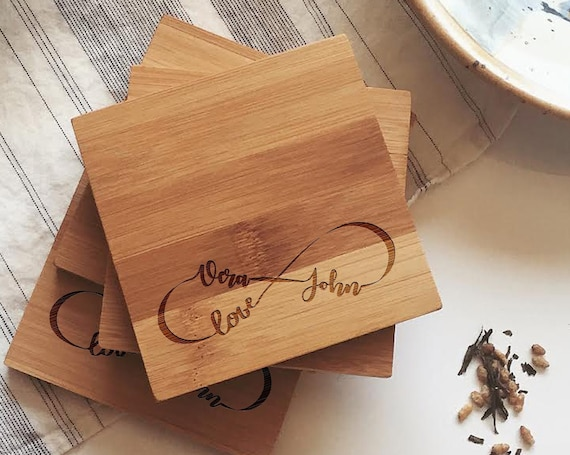 """Personalized Wood Coasters, Custom Wooden Coasters """"Eternal Love"""" for Unique Wedding Gift, Engagement Present, or Bridal Shower Gift"""