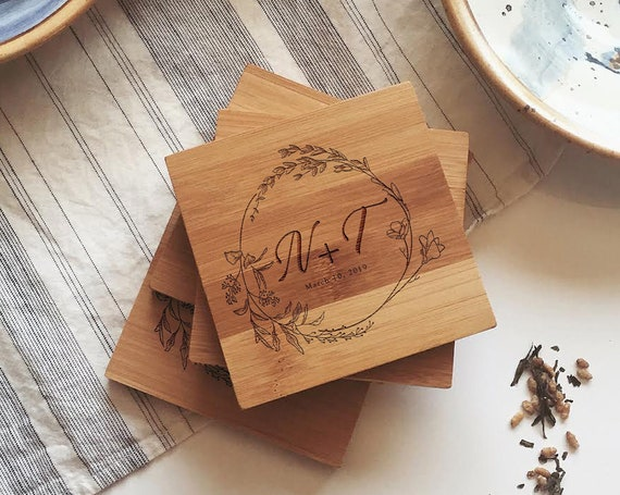 Custom Coasters, Monogrammed Coaster Set w/ Engraved Wreath, Initials, and Optional Cork for Wedding Gift, Housewarming, or Bridal Shower