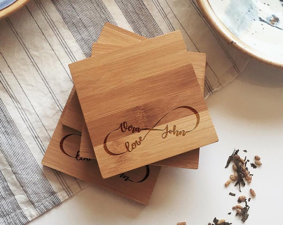 "Personalized Wood Coasters, Custom Wooden Coasters ""Eternal Love"" for Unique Wedding Gift, Engagement Present, or Bridal Shower Gift"