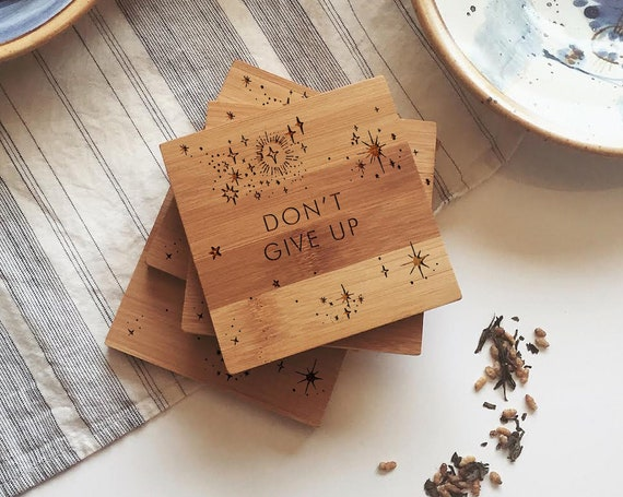 Don't Give Up Coasters, Engraved Motivational Coasters, Consolation or Encouragement Gift, Bamboo Coaster Set, Personalized Drink Coasters