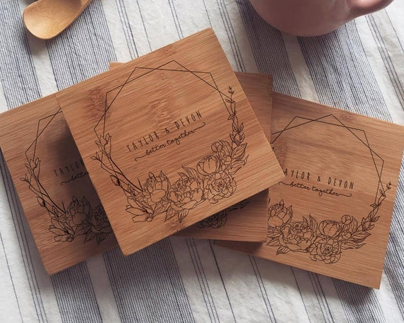 Custom Wood Coasters, Personalized Engraved Coaster Set w/ Geometric Wreath and Optional Cork for Wedding Gift or Engagement Gift