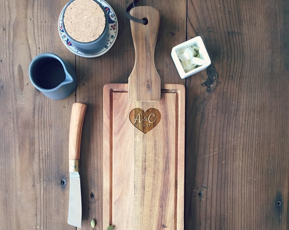 Personalized Cheese Board or Charcuterie Board, Custom Cutting Board  or Serving Board with Engraved Heart and Initials
