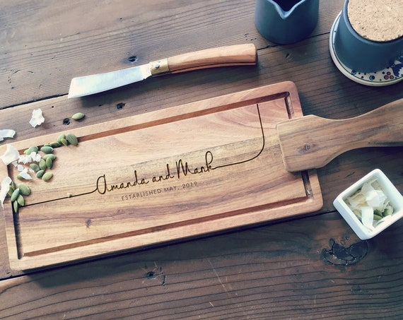 Custom Cheese Board or Charcuterie Board, Personalized Paddle Cutting Board, Wood Serving Board, Newlyweds Gift or Wedding Gift
