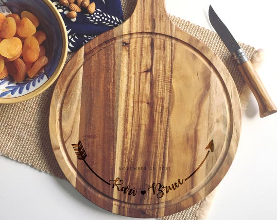 Personalized Cutting Board / Laser Engraved Cheese Board or Charcuterie Board for a Unique and Personal  Wedding Gift or Engagement Present