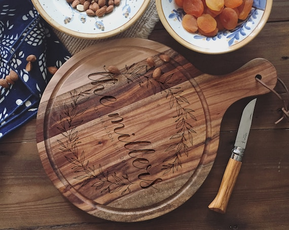 Engraved Cutting Board, Cheese Board, or Charcuterie Board: Personalized Wedding Gift, Housewarming Present or Christmas Gift