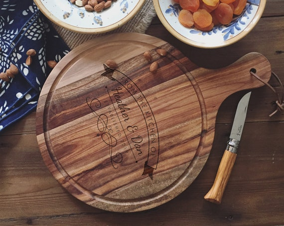 Personalized Cutting Board, Custom Cheese Board or Charcuterie Board for Housewarming Gift, Wedding Gift or Engagement Present