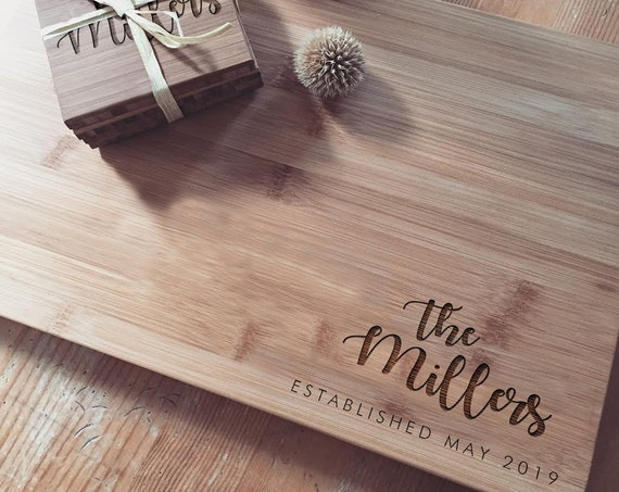 Custom Engraved Butcher Block, Personalized Chopping Board, Bamboo Cutting Board for Wedding Gift, Housewarming Gift or Bridal Shower Idea