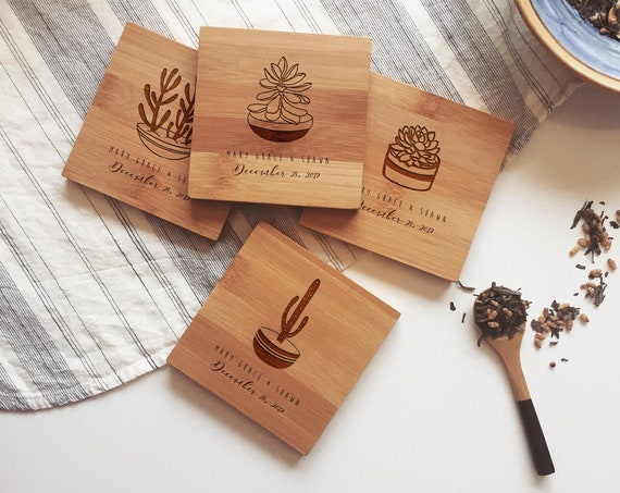 Engraved Coasters, Wood Coasters, Custom Coasters, Personalized Coaster, Succulents, Cactus Coasters, Cute Coasters, Wedding Gift, Gift Idea