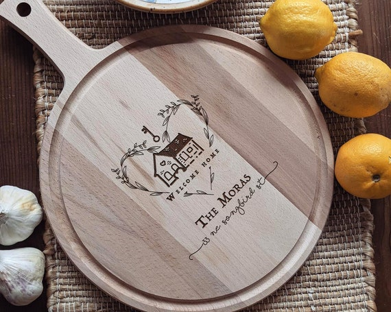 Custom Engraved Closing Gift, Personalized Charcuterie Board, Paddle Cutting Board for Unique Housewarming Present or Closing Gift
