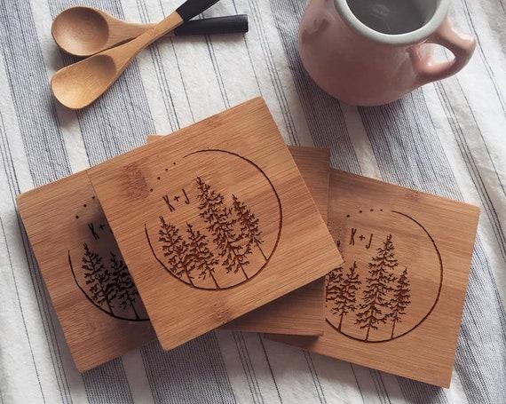 Custom Engraved Coaster Set, Personalized Bamboo Coasters, Custom Initials, Monogrammed Coasters, Pine Tree Design