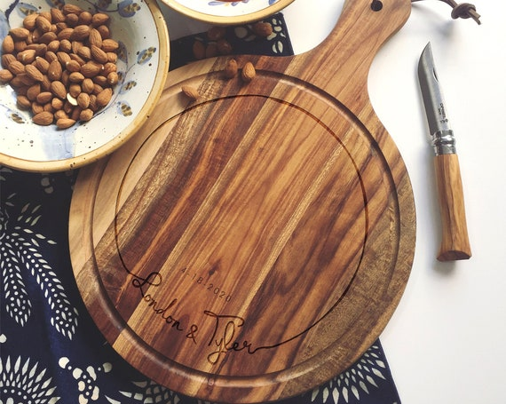 Custom Charcuterie Board, Personalized Cheese Board, Engraved Paddle Cutting Board made w/ Solid Acacia Wood