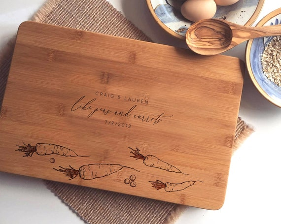 "Custom Cutting Board ""Peas & Carrots"", Personalized Chopping Block, Engraved Charcuterie Board, Bamboo Cheese Board, 5th Anniversary Gift"