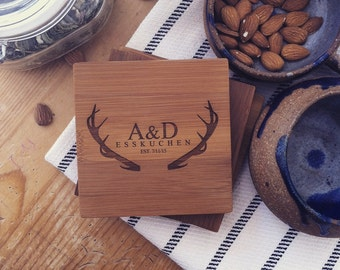 """Personalized Coasters, Custom Engraved Coaster Set, Bamboo Coasters, """"Antlers"""" Engraved Initial Unique Wedding Gift Engagement Present"""