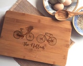 Personalized Charcuterie Board, Custom Cutting Board, Engraved Butcher Block with Bicycles, Wedding Gift or Engagement Present