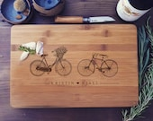 Personalized Bamboo Cutting Board / Custom Butcher Block with Vintage Bicycles and Your Text