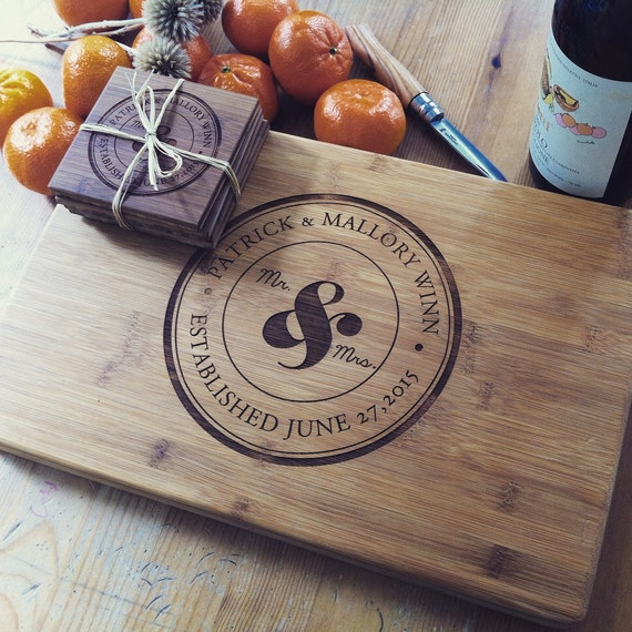 Personalized Cutting Board and Coasters Gift Set, Mr. and Mrs Ampersand Emblem w/ Matching Custom Engraved Coasters, Wedding Gift