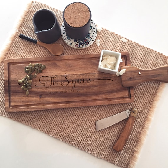 Custom Cutting Board, Personalized Cheese Board, Engraved Charcuterie Board, Acacia Paddle Board with Last Name
