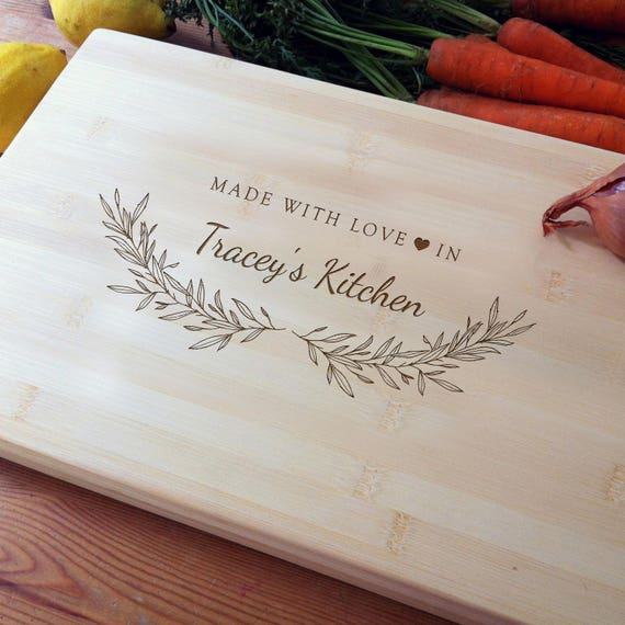 Personalized Cutting Board, Bamboo Chopping Block, Custom Butcher Block, Wedding Gift, Housewarming Gift, Wood Anniversary, Mothers Day