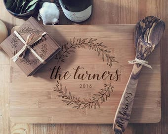 Cutting Board Set: Custom Chopping Board, Engraved Coasters, and Matching Wooden Spoon & Spatula
