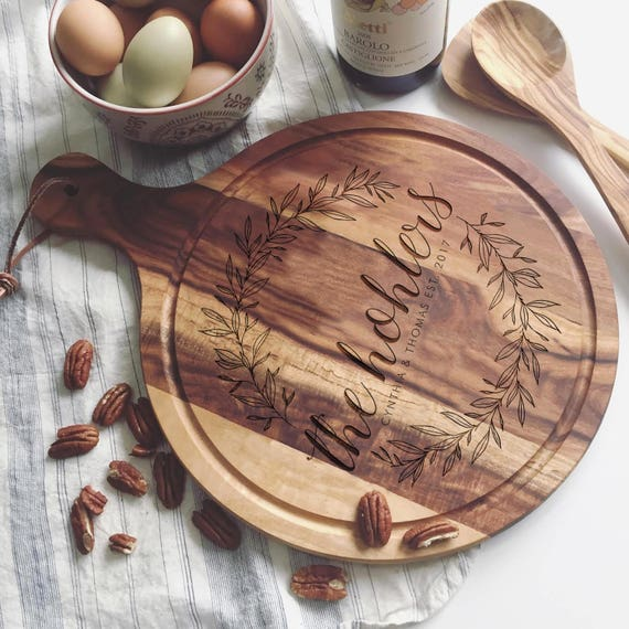 Engraved Cutting Board with Wreath Design: Custom Cheese Board or Charcuterie Board for Wedding Gift or Engagement Present